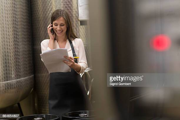 young woman in wine cellar next to fermentation tanks, using mobile phone - sigrid gombert stock-fotos und bilder