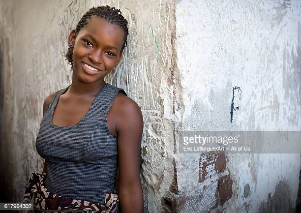 Young woman inside the grande hotel slum beira Mozambique on July 15 2013 in Beira Mozambique
