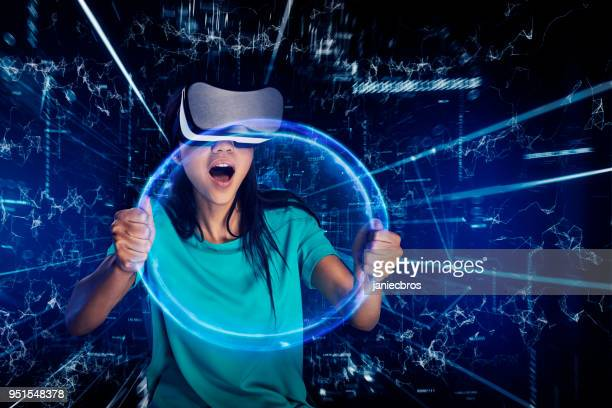 Young woman inside virtual reality. Driving