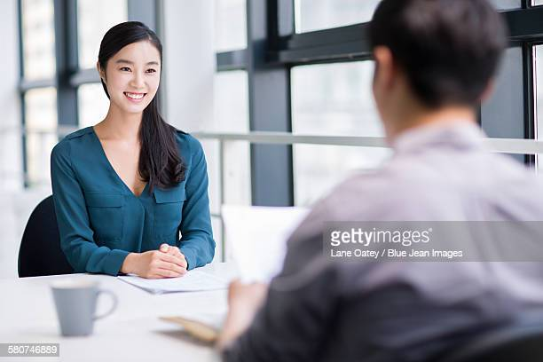 Young woman interviewing for a job