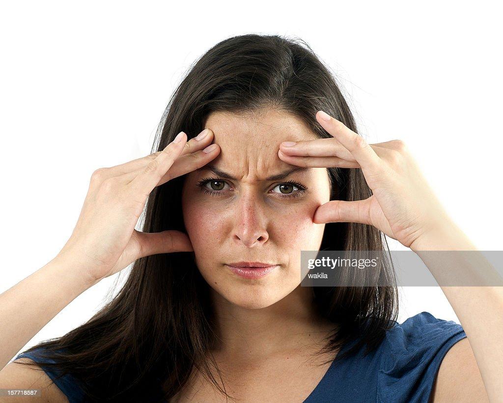 Junge Frau konzentriert : Stock-Foto