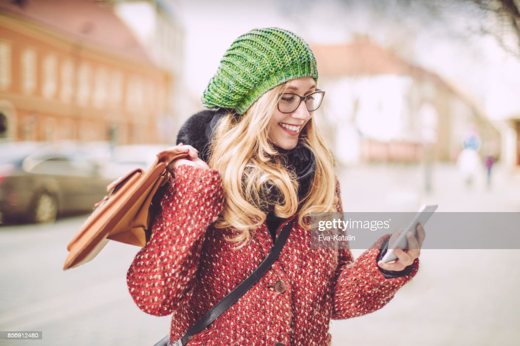 Young woman is having fun in the city : Stock Photo