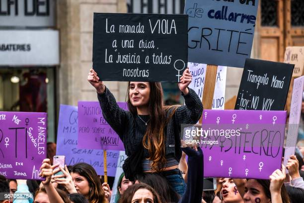 A young woman is seen showing a sign with the text The herd violates a girl justice does to all of us Under the slogan it's not abuse it's rape more...