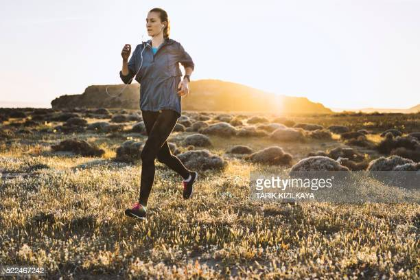 young woman jogging on a sunny day - windbreak stock pictures, royalty-free photos & images