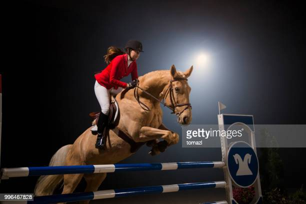 young woman jumping with horse over the hurdle - hurdling horse racing stock pictures, royalty-free photos & images