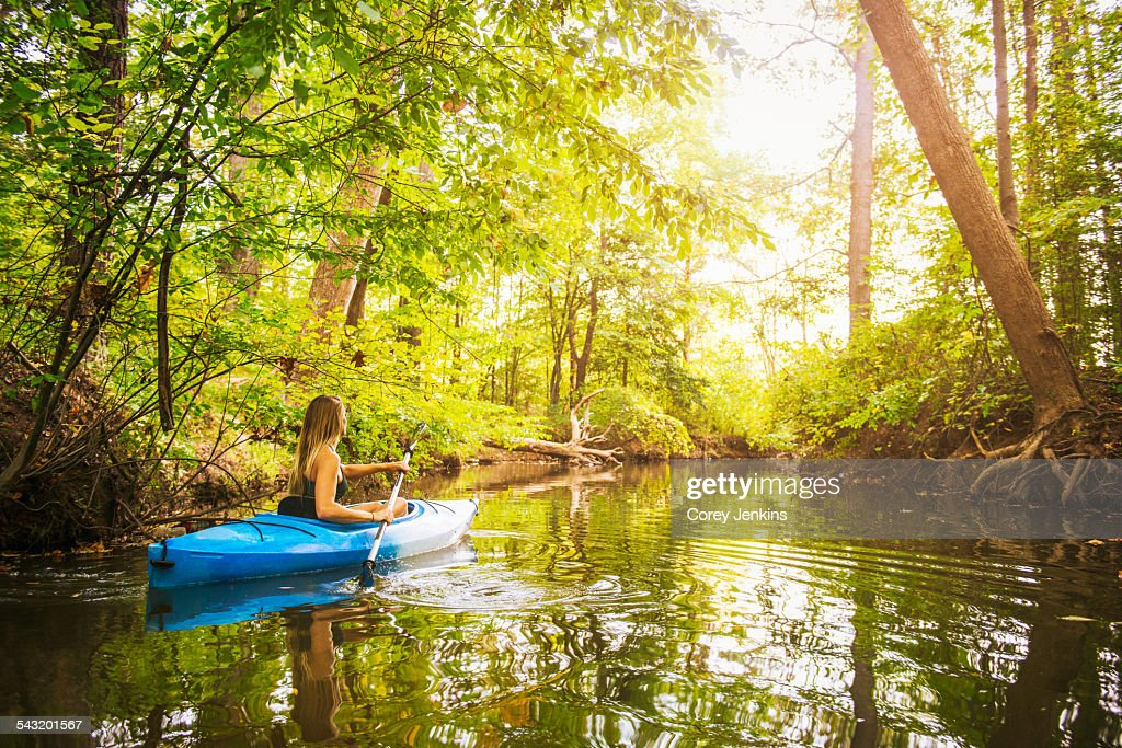 Young woman kayaking on forest river, Cary, North Carolina, USA : Stock Photo