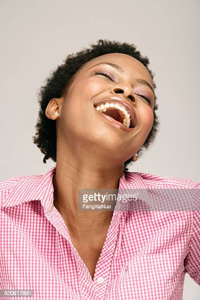 young woman laughing, close-up - bending over backwards stock photos and pictures