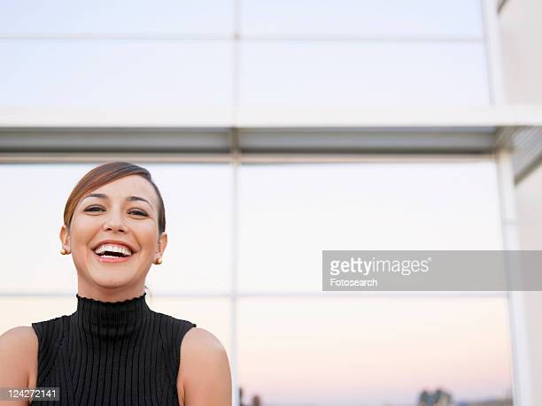 young woman laughing (portrait) - turtleneck stock pictures, royalty-free photos & images
