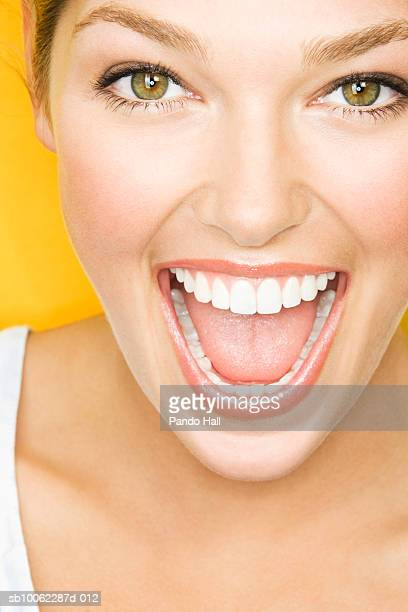 young woman laughing, portrait, close-up - hazel eyes stock pictures, royalty-free photos & images