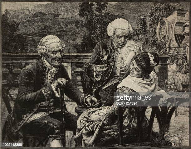 Young woman laughing with two older men Between fire and sword engraving by F Cantagalli from a painting by Celestino Gilardi from L'Illustrazione...
