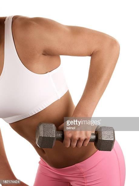 Mujer joven levantar peso de pesa