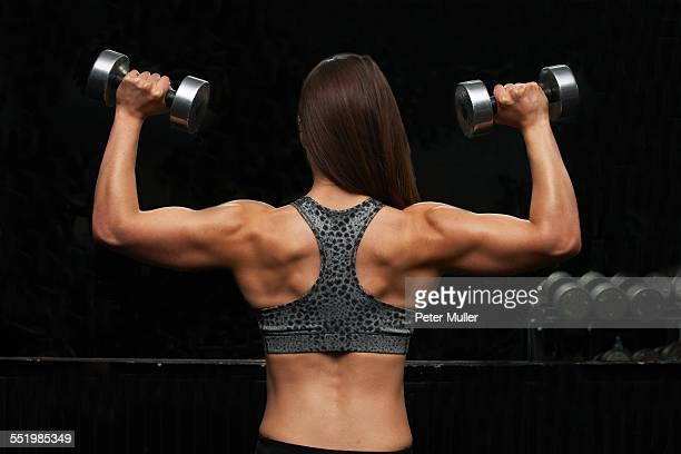 young woman, lifting weights, rear view - female bodybuilder stock pictures, royalty-free photos & images