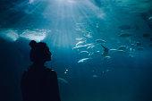 Young woman looking at fish in the aquarium