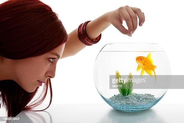 Junge Frau auf der Suche im fish tank
