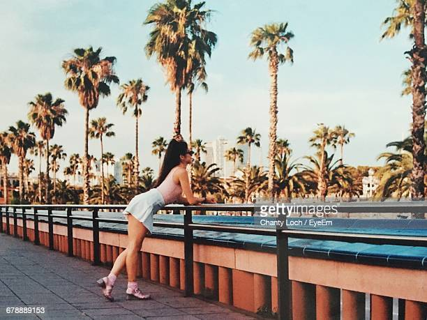 Young Woman Looking At Idyllic View In Barcelona