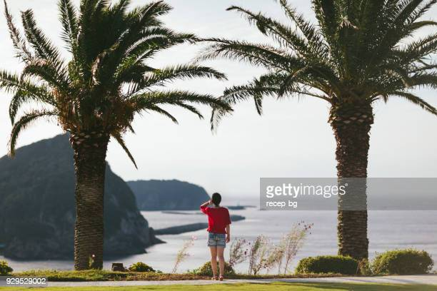 young woman looking at scene - shizuoka stock photos and pictures