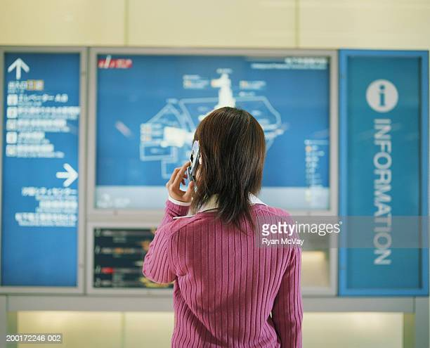 Young woman looking at subway map, talking on cell phone, rear view
