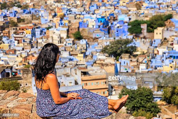 Young woman looking at the view, Jodhpur, India