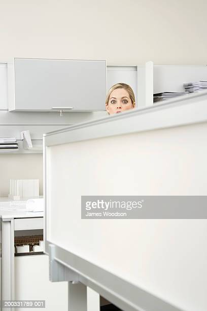 Young woman looking over divider in office, portrait