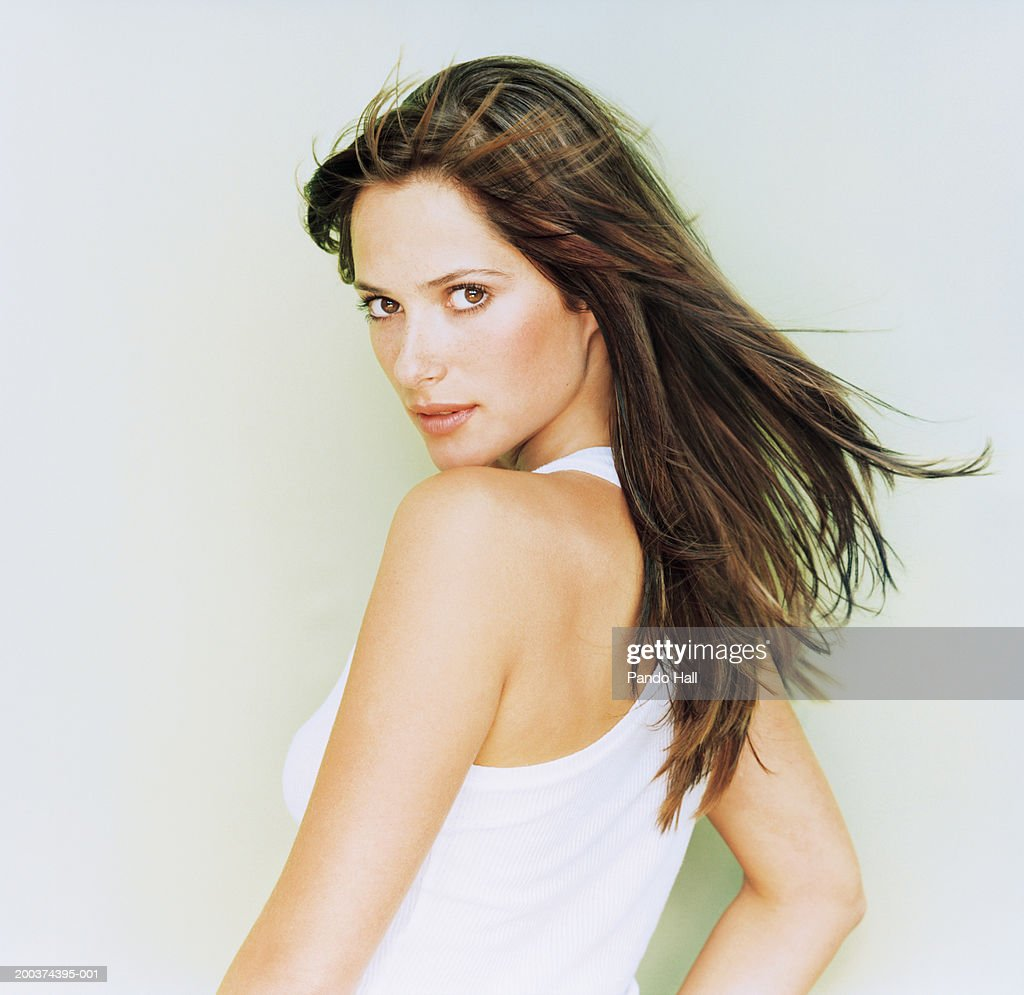 Young Woman Looking Over Shoulder Portrait Closeup High