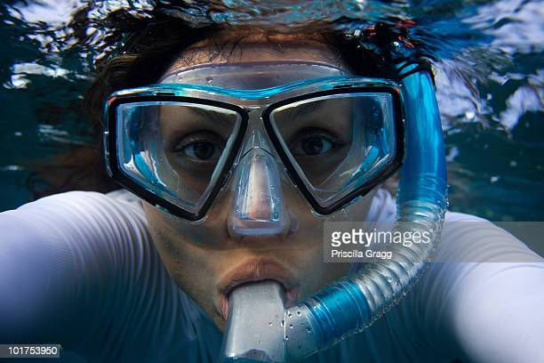 Young woman looks straight at the camera through a mask while snorkling in Maui, Hawaii.