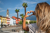 young woman loving swiss village ascona