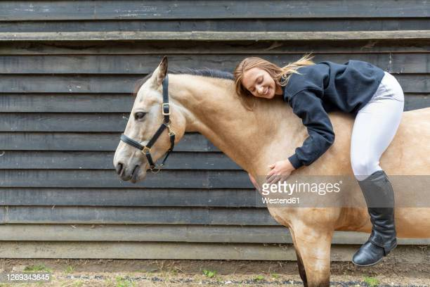 young woman lying on the back of her horse - lying down stock pictures, royalty-free photos & images