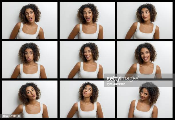 young woman making nine different facial expressions - facial expression stock pictures, royalty-free photos & images