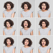Young woman making nine different facial expressions