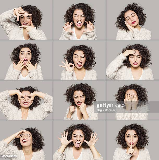 young woman making various facial expressions - funny turkey images stock photos and pictures