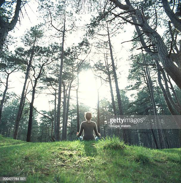 Young woman meditating on grass, rear view