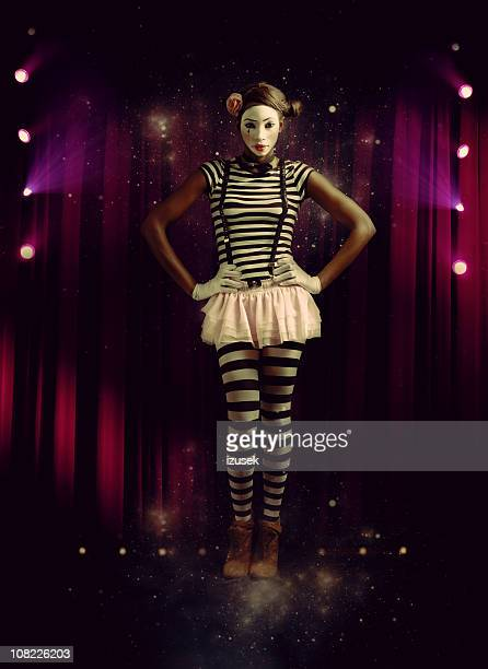 Young Woman Mime On Stage