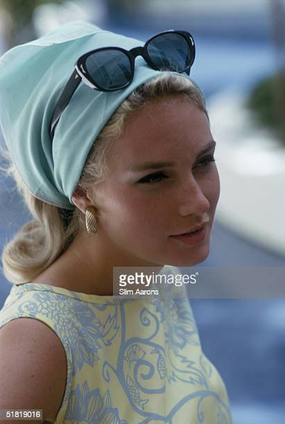 A young woman modelling a Lilly Pulitzer shift dress and headscarf Palm Beach Florida April 1964