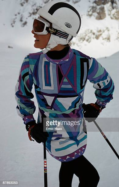 Young woman modelling a ski outfit, April 1969.