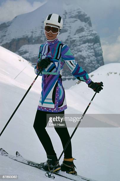 A young woman modelling a ski outfit April 1969