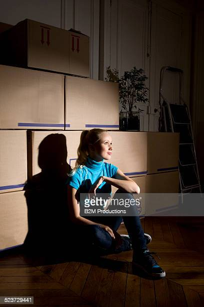 Young woman moving house