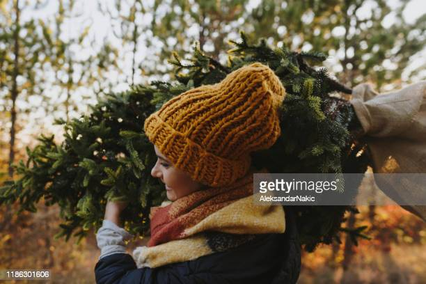 young woman on a christmas tree farm - tree farm stock pictures, royalty-free photos & images
