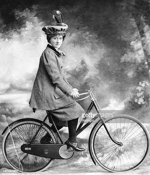 Young woman on a safety bicycle, 1898. Miss A Hughes is enacting 'A Professor's Love Story'.