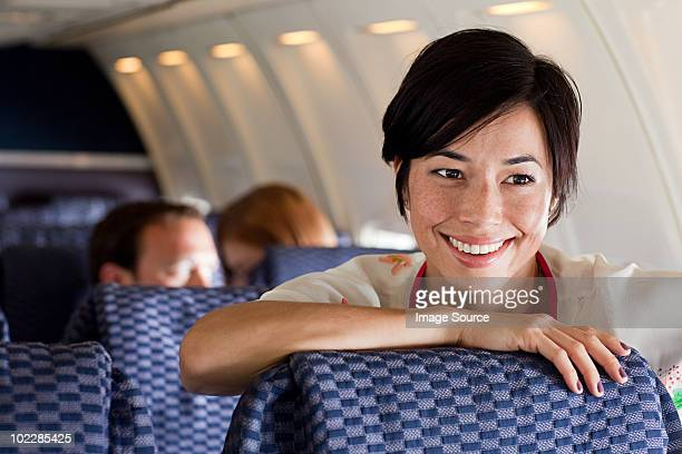 Young woman on an airplane