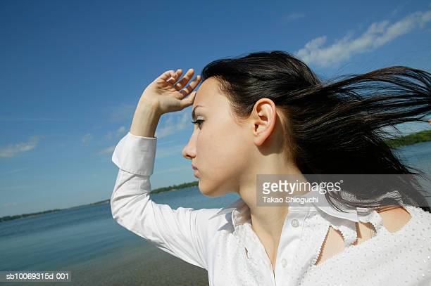 young woman on beach, looking away - contea di prince edward ontario foto e immagini stock