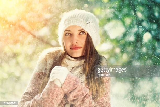 young woman on cold winter day