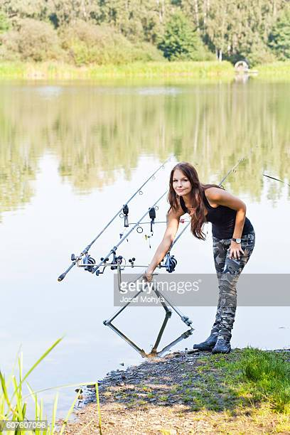 Young woman on fishing