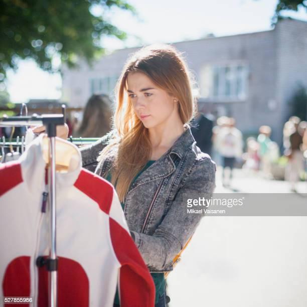 Young woman on flea market