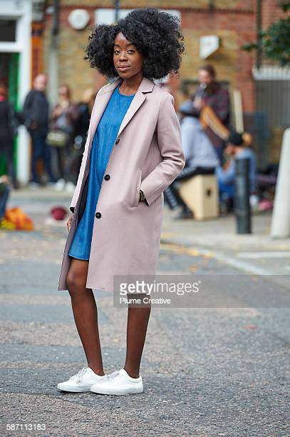 Young woman on London street.