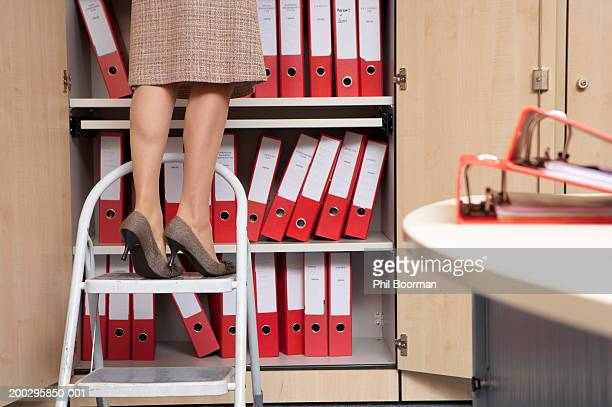 Young woman on step ladder by folders in cupboard, low section
