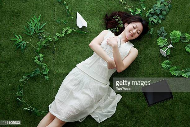 young woman on the green