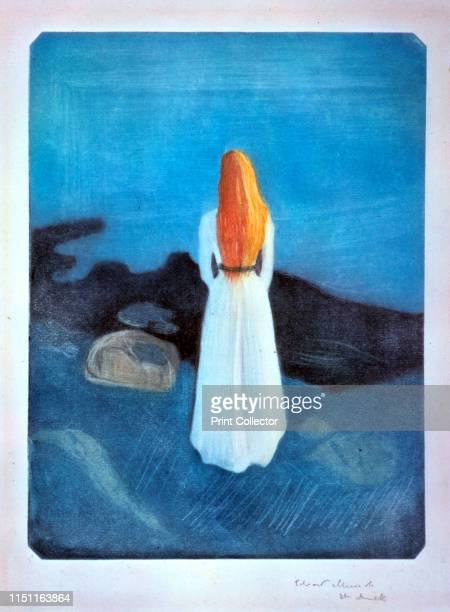 Young woman on the Seashore', 1896. Found in the collection of the Munch Museet, Oslo, Norway. Artist Edvard Munch.