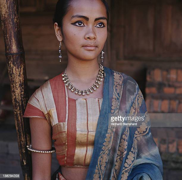 A young woman on the set of the film 'Little Buddha' in Asia circa 1992