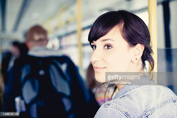 Young woman on tram