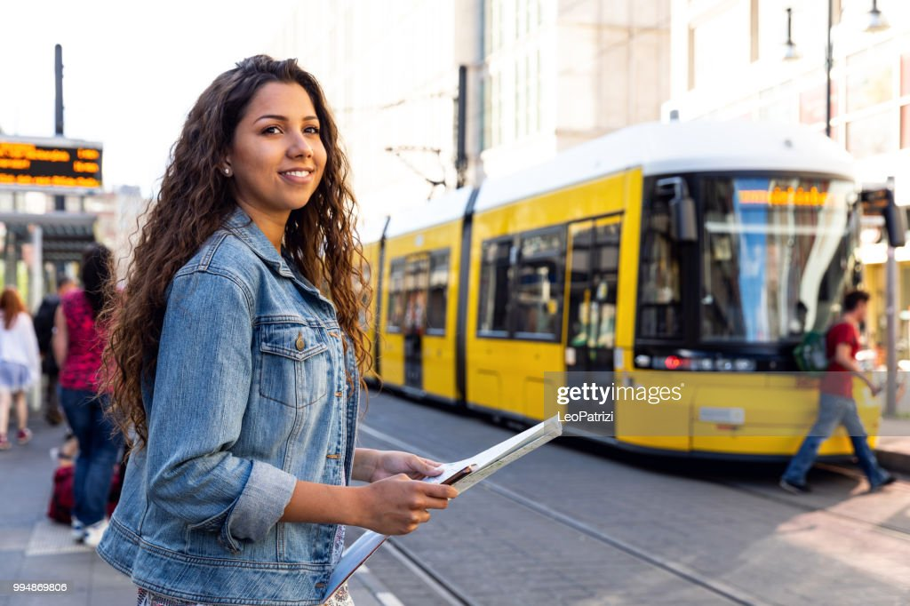 Young woman on travel in Berlin - Germany during summer holidays : Stock Photo